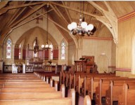 Century Memorial Chapel pews inside of sanctuary