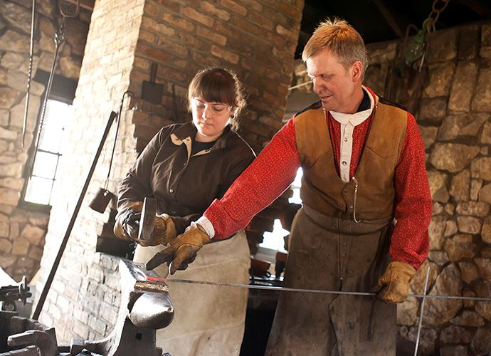 Women in Blacksmith 101 Class at Naper Settlement