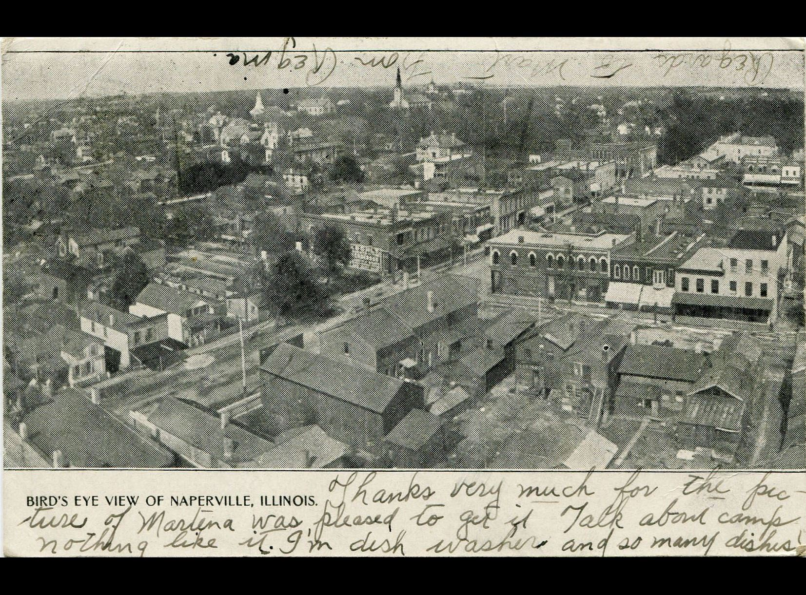 Bird's eye view of downtown, postmarked July 1906