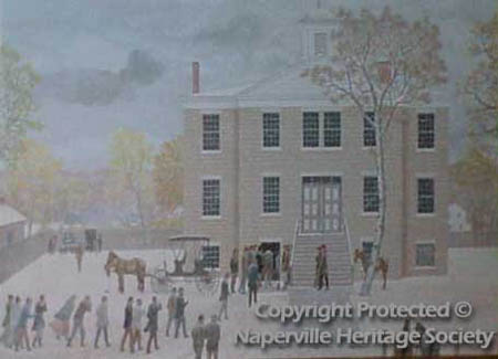 People in a snowstorm at Naper Academy