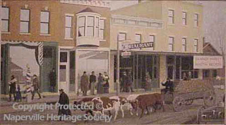 People and livestock on South Main Street