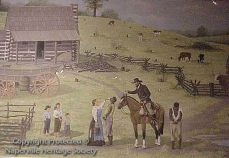 Man finding runaway slaves on a farm