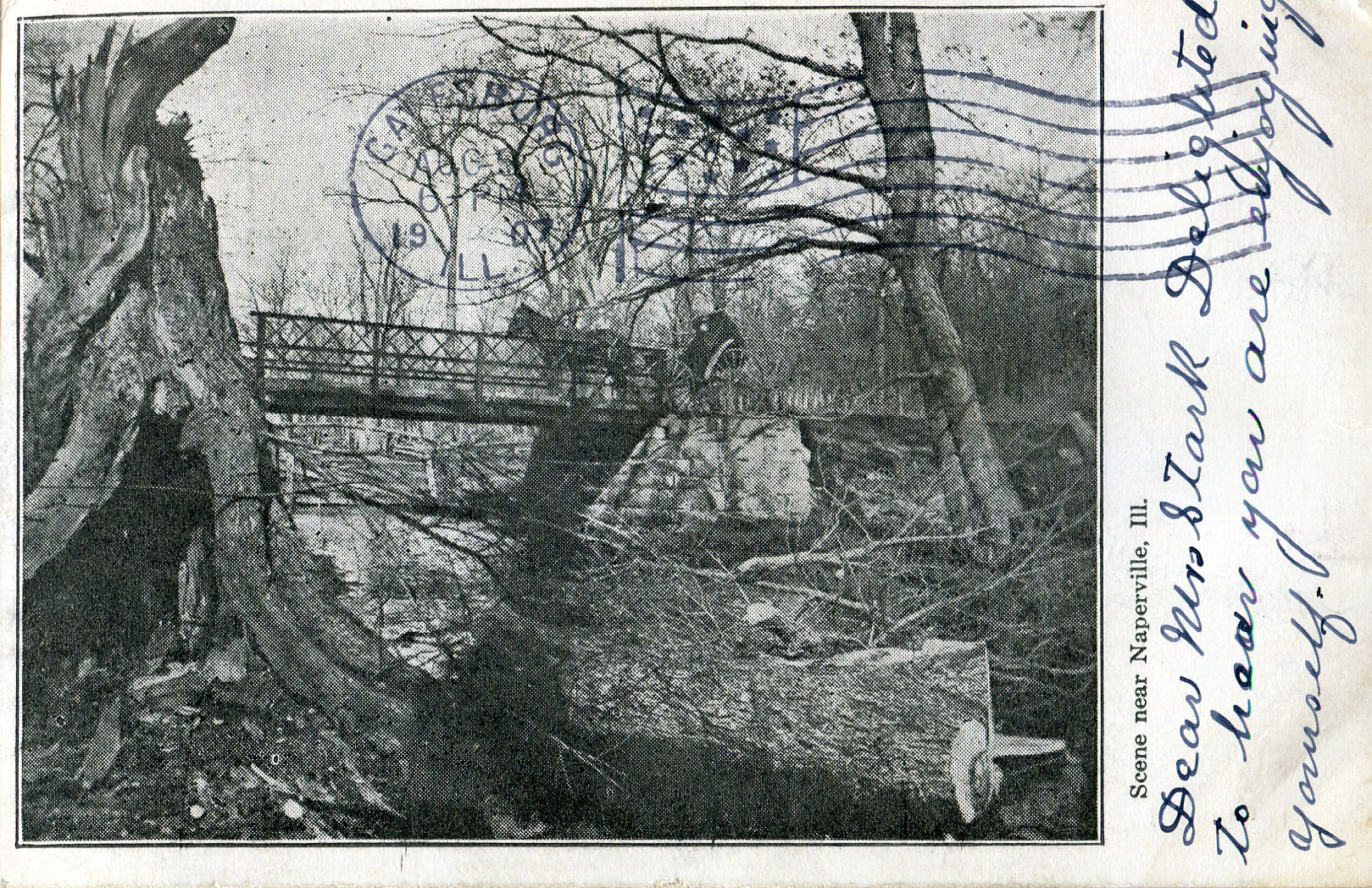 Bridge over DuPage River postcard