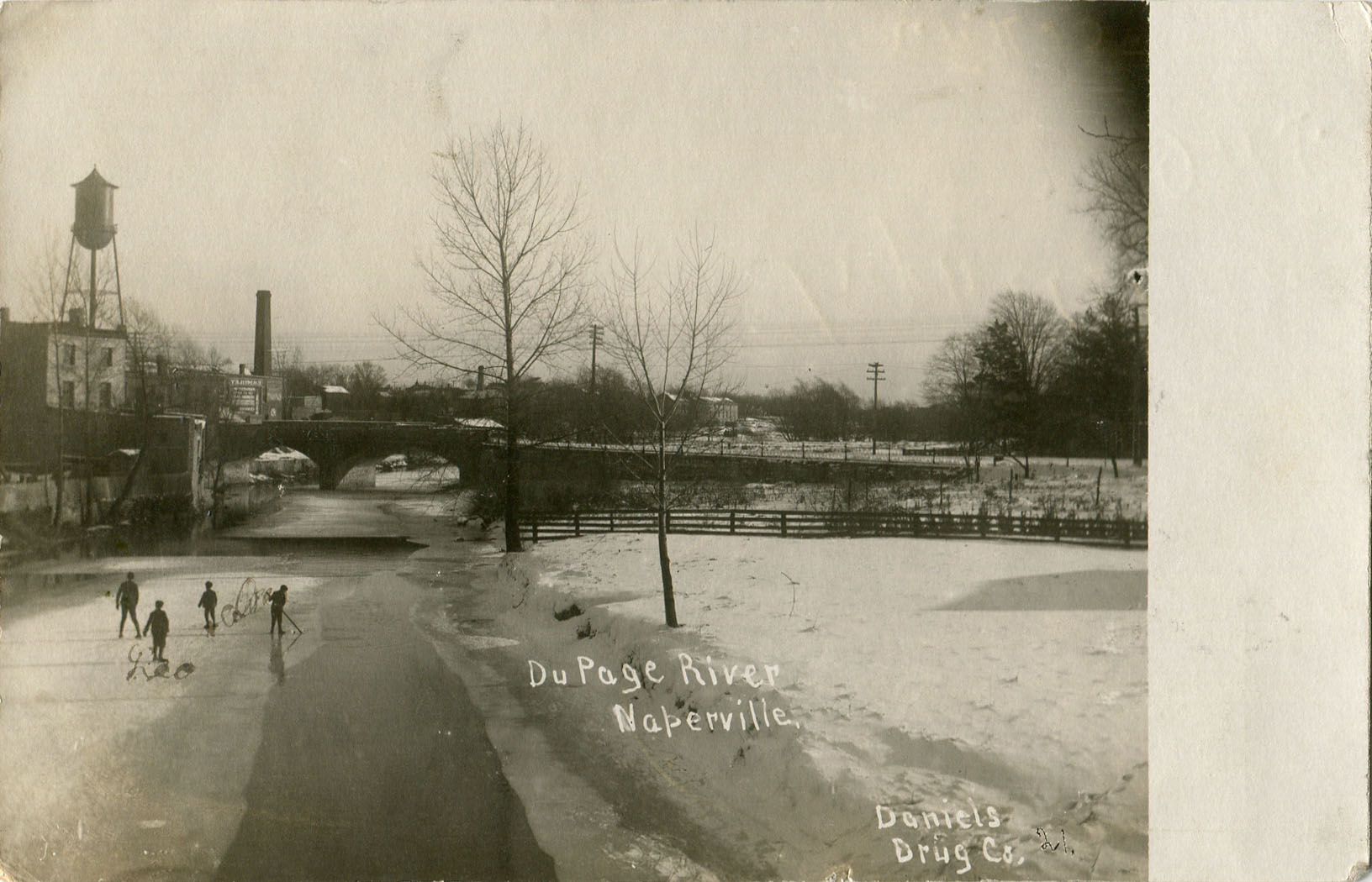 DuPage River during winter postcard