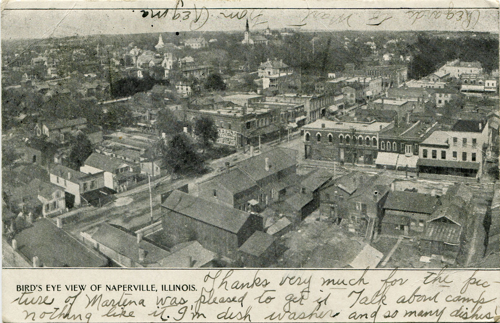 Birds Eye View of Naperville postcard