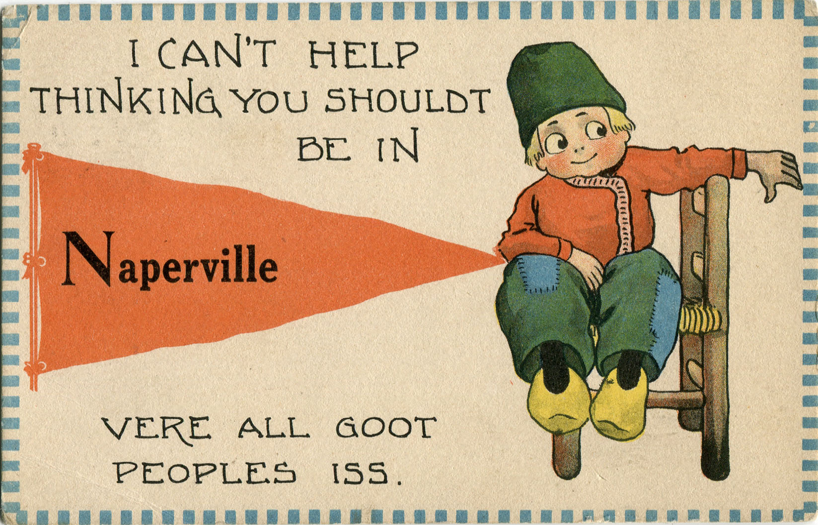Postcard with illustration of Dutch boy