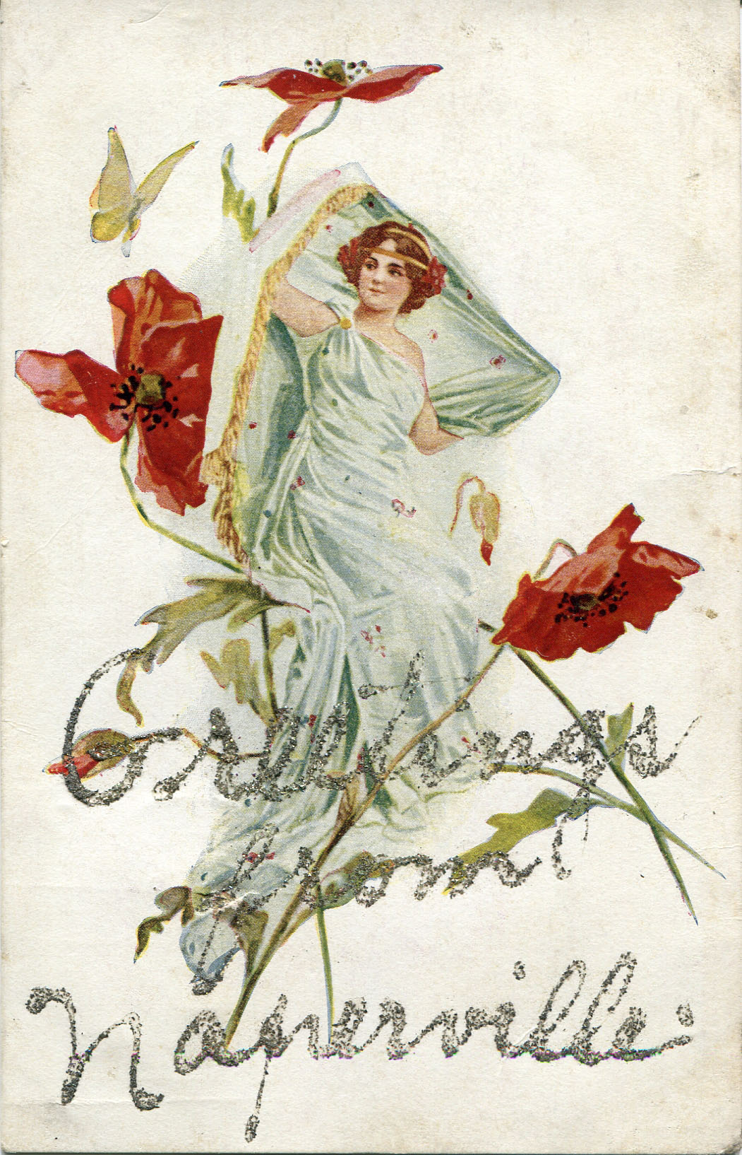 Postcard with illustration of woman and poppies