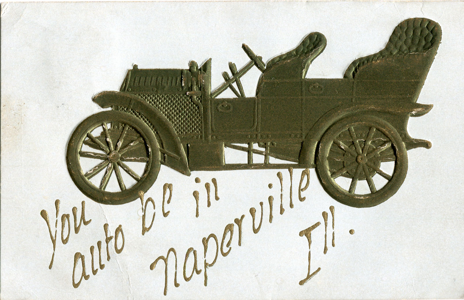 Postcard with embossed automobile