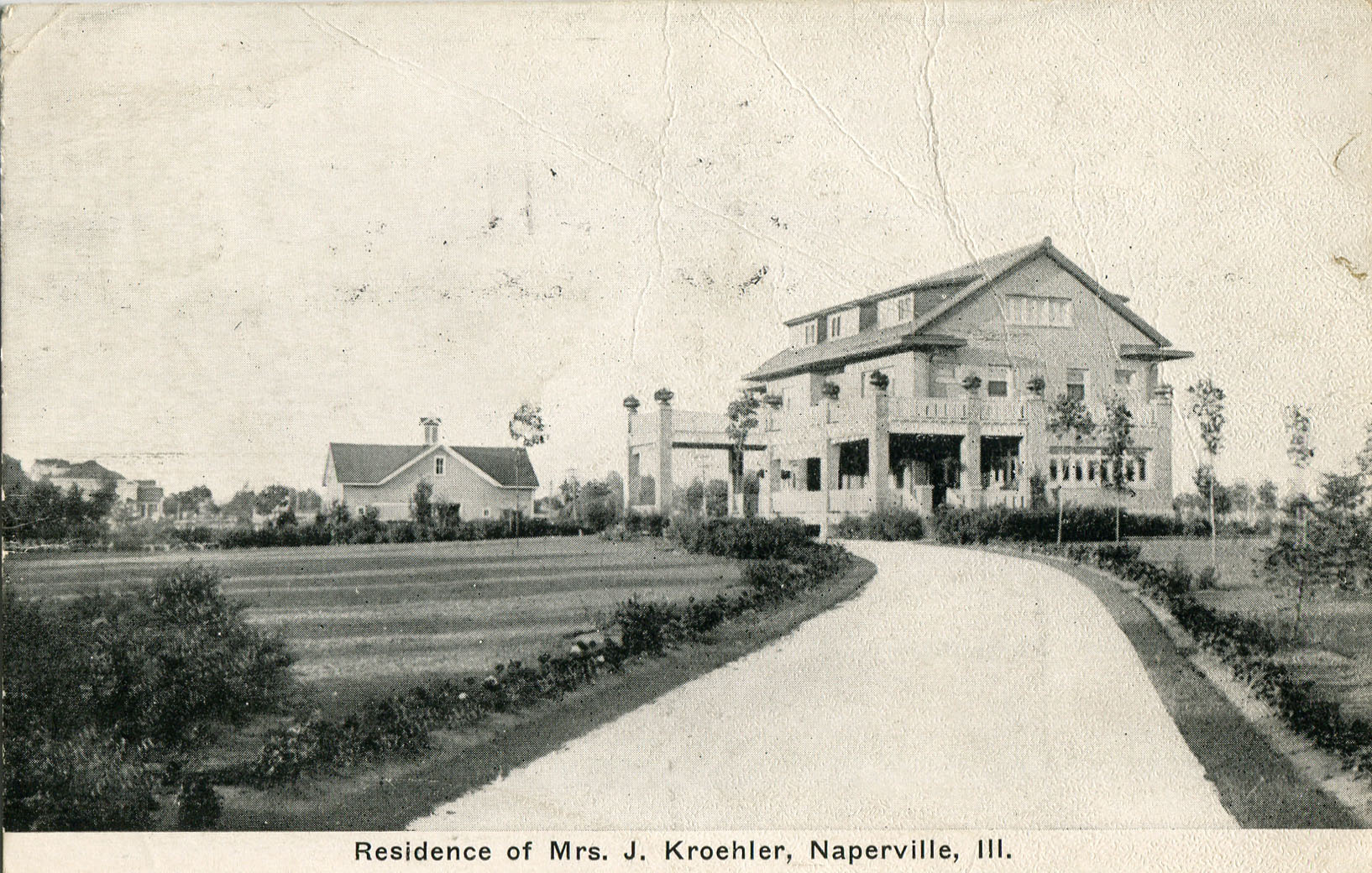 Postcard view of Mrs. J. Kroehler's home