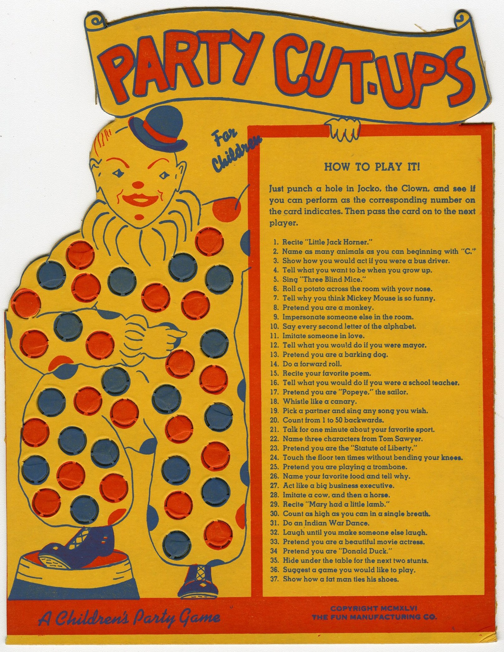Party Cut-Ups Game