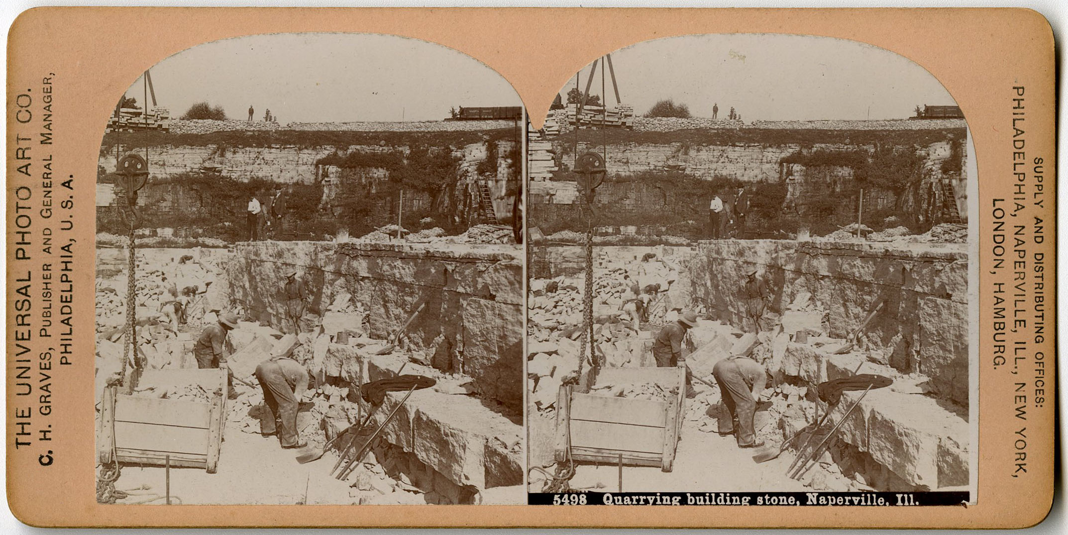 Quarrying Stereoview Card